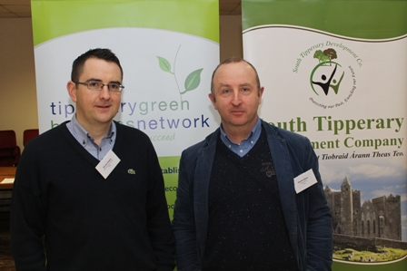 Michael Begley, Project Development Officer, South Tipperary Development Company & Patrick Killeen, Project Development Officer, North Tipperary LEADER Partnership — at the Energy Challenge Event in Halla Na Feile, Canopy Street, Cashel.