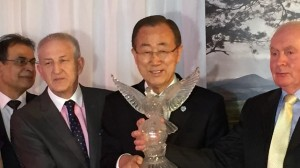 Mr Martin Quinn(Secretary), Mr Ban Ki-moon (UN Secretary General), and Mr Joe Quinn (Chairman, Tipperary Peace Convention).