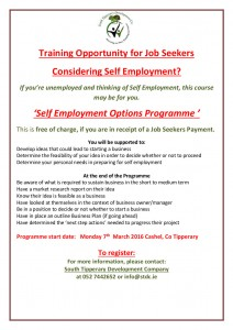 Self Employment Options Programme March  2016