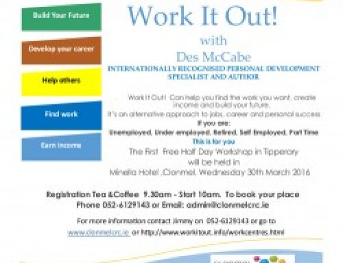 Work It Out with Des Mc Cabe, Clonmel Wednesday March 30th.
