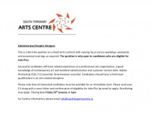 South Tipperary Arts Centre need a Graphic Designer/Adminsitrator