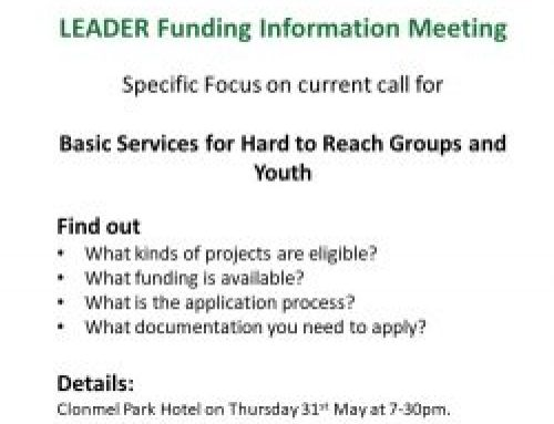 LEADER Funding Information Evening : Clonmel Park Hotel , Thursday May 31st